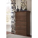 Signature Design by Ashley Burminson Casual Cottage 5 Drawer Chest with Pewter Color Accents