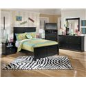 Signature Design by Ashley Maribel Full Panel Bed with Simple Moulding - Shown with Night Stand, Media Chest, Dresser, and Mirror