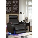 Signature Design by Ashley Boyband Faux Leather Power Recliner with Cup Holders, Storage, Cup Holders, & LED Lighting