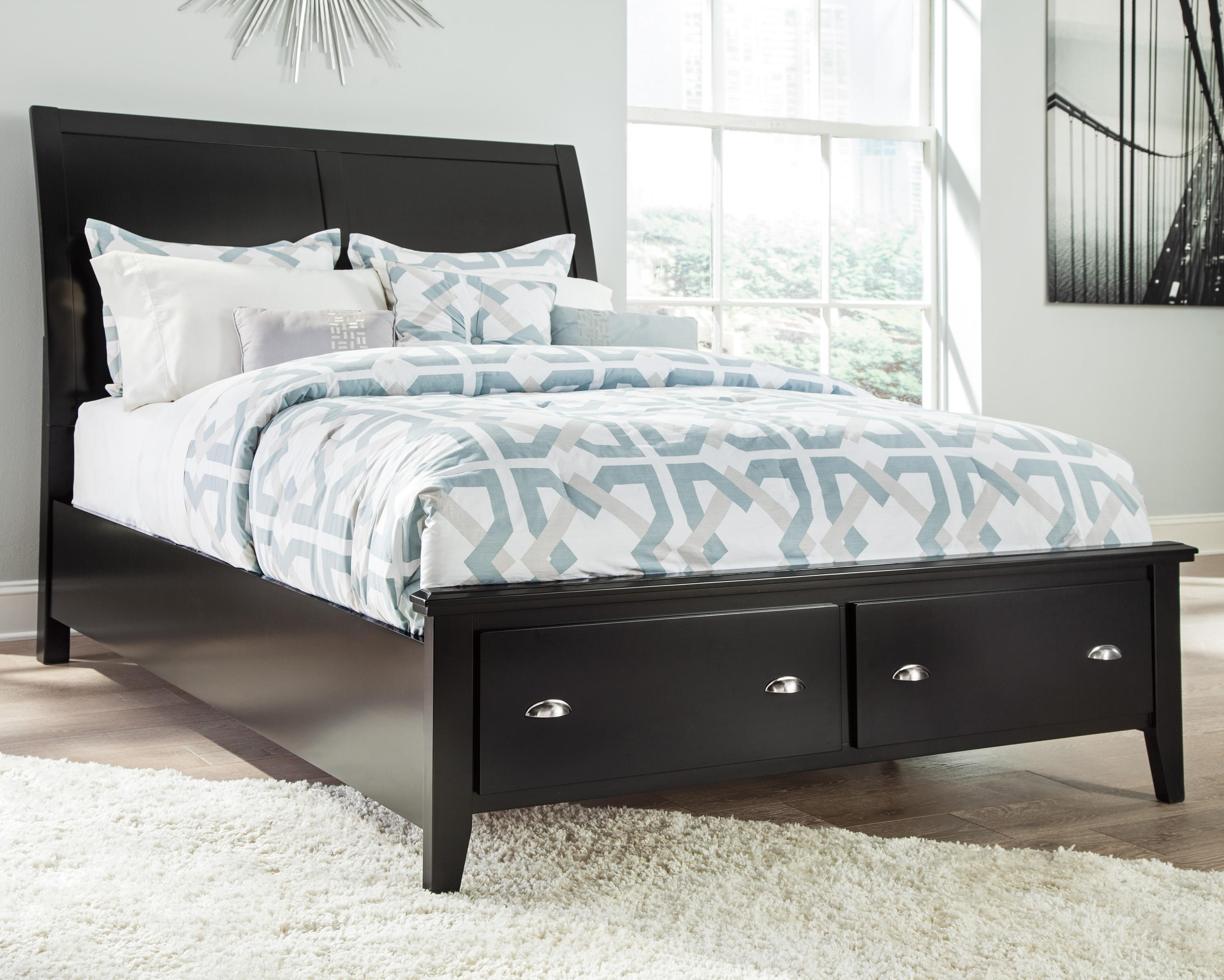 Signature Design by Ashley Braflin Queen Storage Bed with Sleigh Headboard - Item Number: B591-57+54S+96S