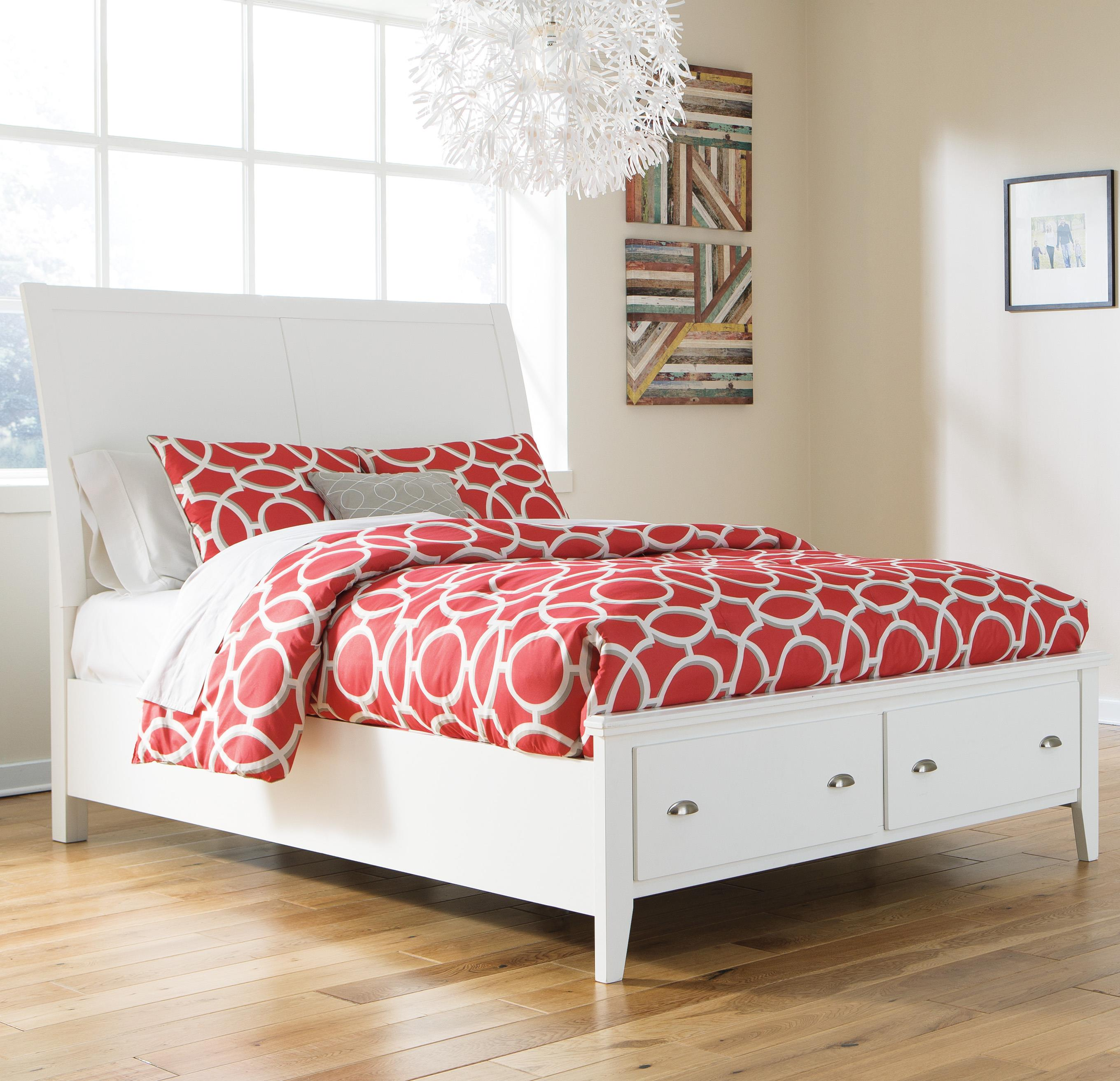 Signature Design by Ashley Langlor Queen Storage Bed with Sleigh Headboard - Item Number: B592-57+54S+96S
