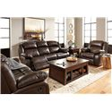 Signature Design by Ashley Branton Leather Match Reclining Power Loveseat