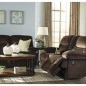 Signature Design by Ashley Brayburn Contemporary Double Reclining Loveseat w/ Console