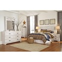 Signature Design by Ashley Briartown Queen/Full Panel Headboard in Rustic White Finish