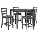 Signature Design by Ashley Bridson 5-Piece Square Counter Table Set - Item Number: D383-223