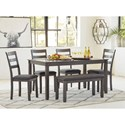 Signature Design by Ashley Bridson 6-Piece Rectangular Dining Room Table Set