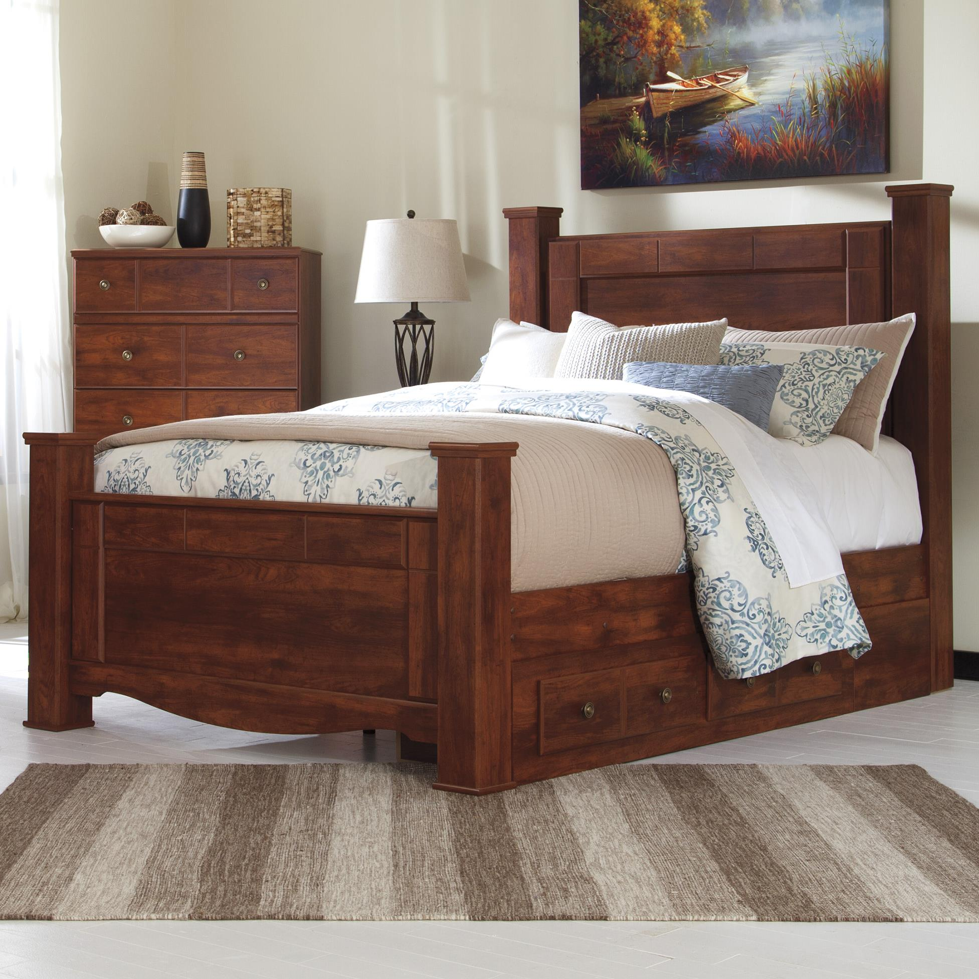 Signature Design by Ashley Brittberg Queen Poster Bed with Underbed Storage - Item Number: B265-67+64+61+50+98