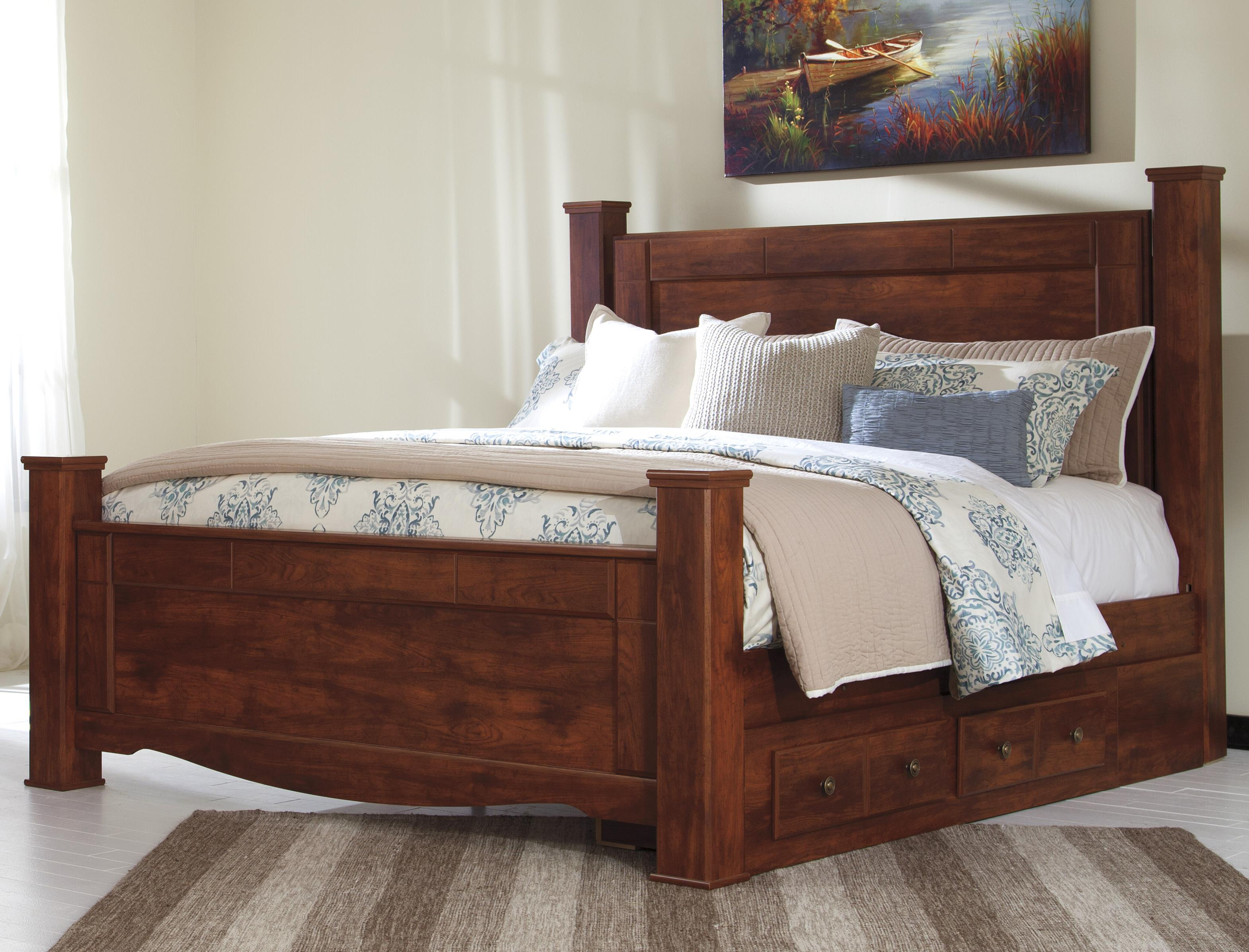 Signature Design by Ashley Brittberg King Poster Bed with Underbed Storage - Item Number: B265-68+66+61+50+99