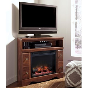 Signature Design by Ashley Brittberg Corner TV Stand with Fireplace Insert