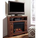Signature Design by Ashley Brittberg Corner TV Stand with Fireplace Insert - Item Number: W265-12+W100-01