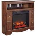 Signature Design by Ashley Brittberg Cherry Finish Corner TV Stand with Fireplace Insert