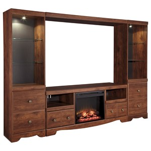 Signature Design by Ashley Brittberg Large TV Stand with 2 Tall Piers & Bridge