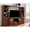 Signature Design by Ashley Brittberg Cherry Finish Large TV Stand with Fireplace Insert, 2 Tall Piers, & Bridge