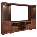 Signature Design by Ashley Brittberg Large TV Stand with 2 Tall Piers & Bridge - Item Number: W265-68+2x24+27