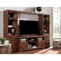Signature Design by Ashley Brittberg Cherry Finish Large TV Stand with 2 Tall Piers & Bridge