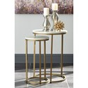 Signature Design by Ashley Britzwald Glam Nesting End Tables with Faux Marble Top