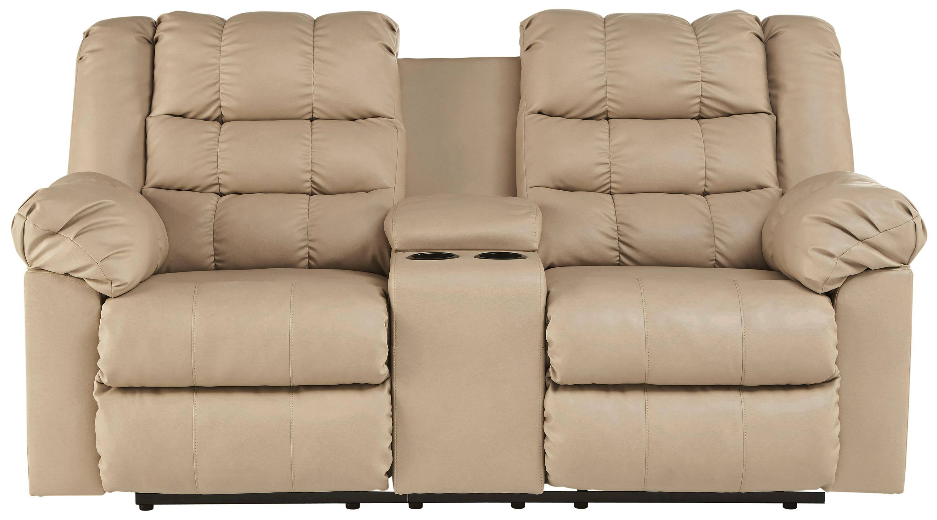 Signature Design by Ashley Brolayne DuraBlend® Double Reclining Loveseat w/ Console - Item Number: 8320194