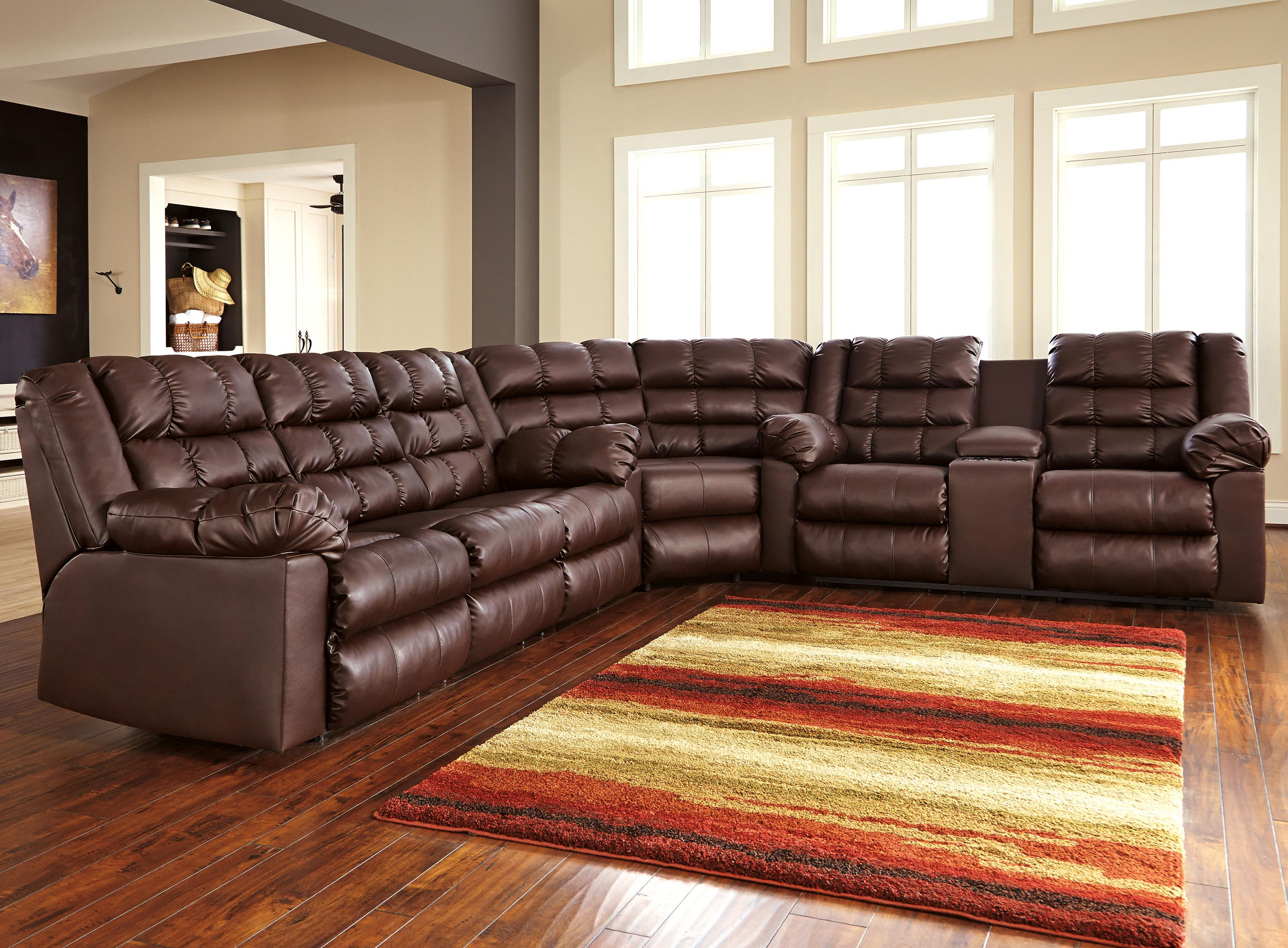 Signature Design by Ashley Brolayne DuraBlend® 3-Piece Reclining Sectional - Item Number: 8320288+77+94