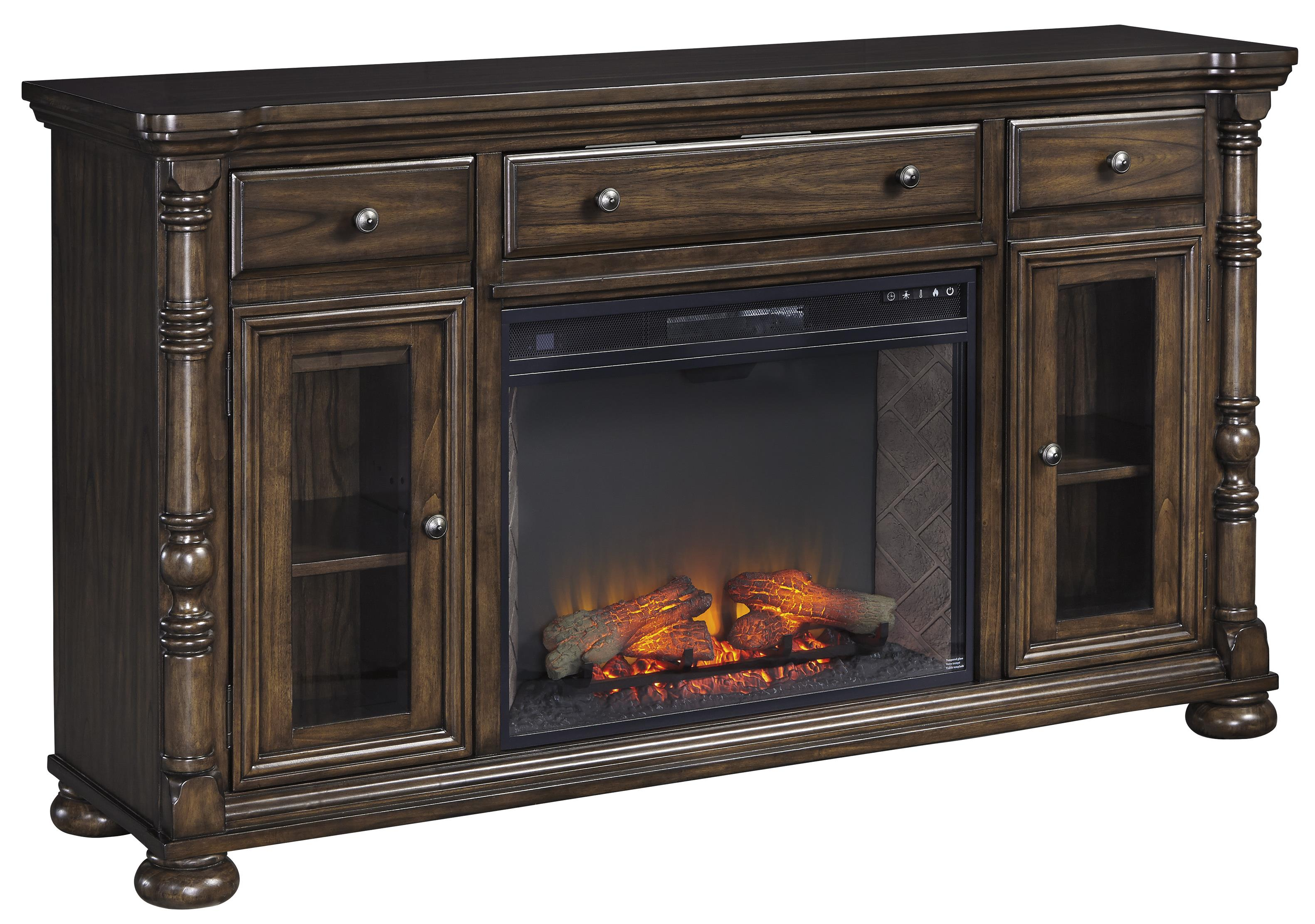 Signature Design by Ashley Brosana Extra Large TV Stand w/ Fireplace Insert - Item Number: W528-68+W100-21