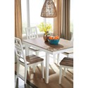 Signature Design by Ashley Brovada Contemporary White/Light Wash 5-Piece Rectangular Dining Table Set