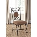 Signature Design by Ashley Brulind Transitional Dining Upholstered Side Chair with Scrolled Metal Base