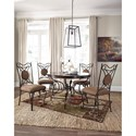 Signature Design by Ashley Brulind Transitional Round Dining Room Table with Scrolled Metal Pedestal