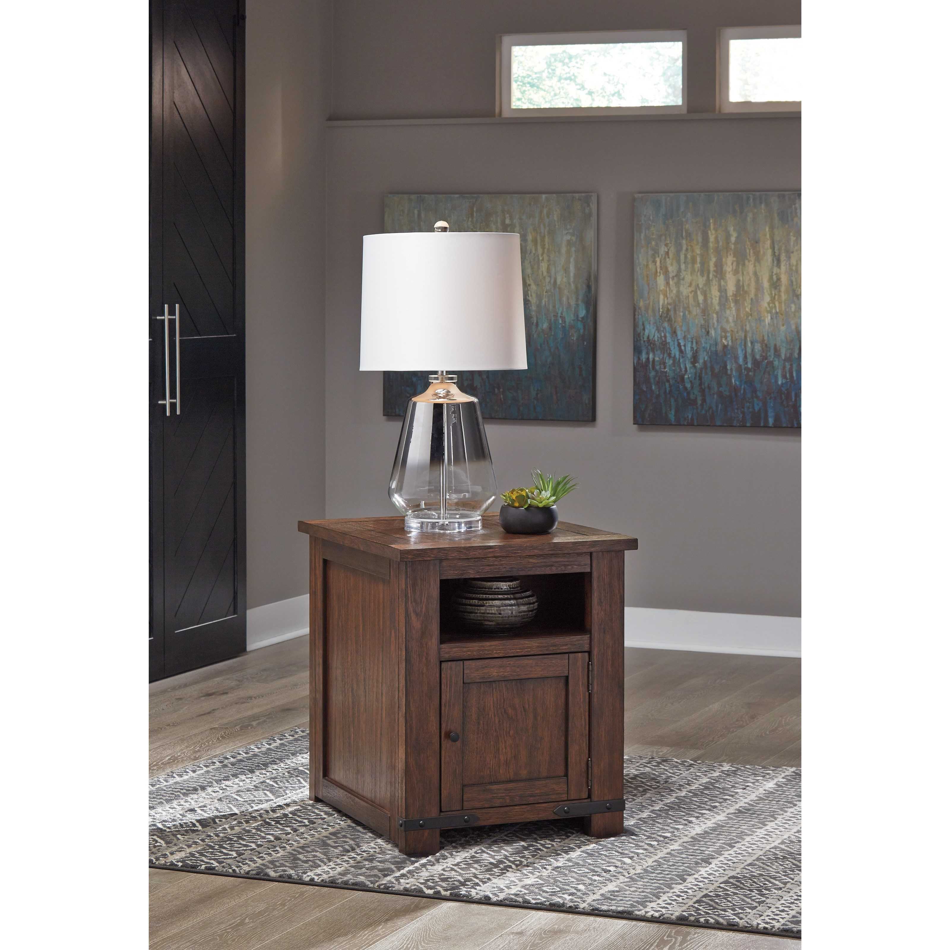 Signature Design By Ashley Budmore Rustic End Table With