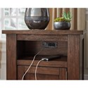 Signature Design by Ashley Budmore Rustic End Table with USB Charging Ports