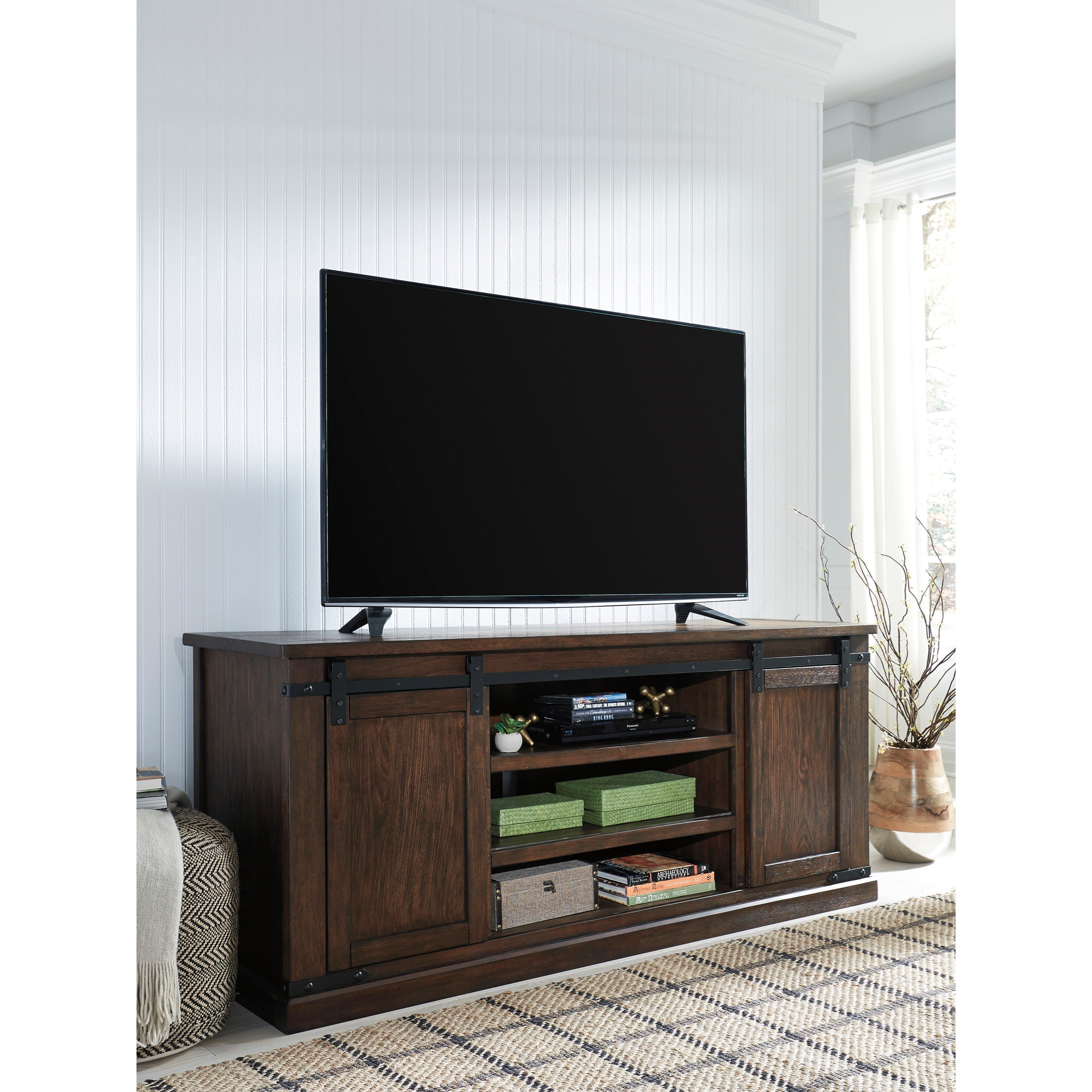 Budmore Mango Veneer Extra Large Tv Stand With Barn Doors Rotmans Tv Stands