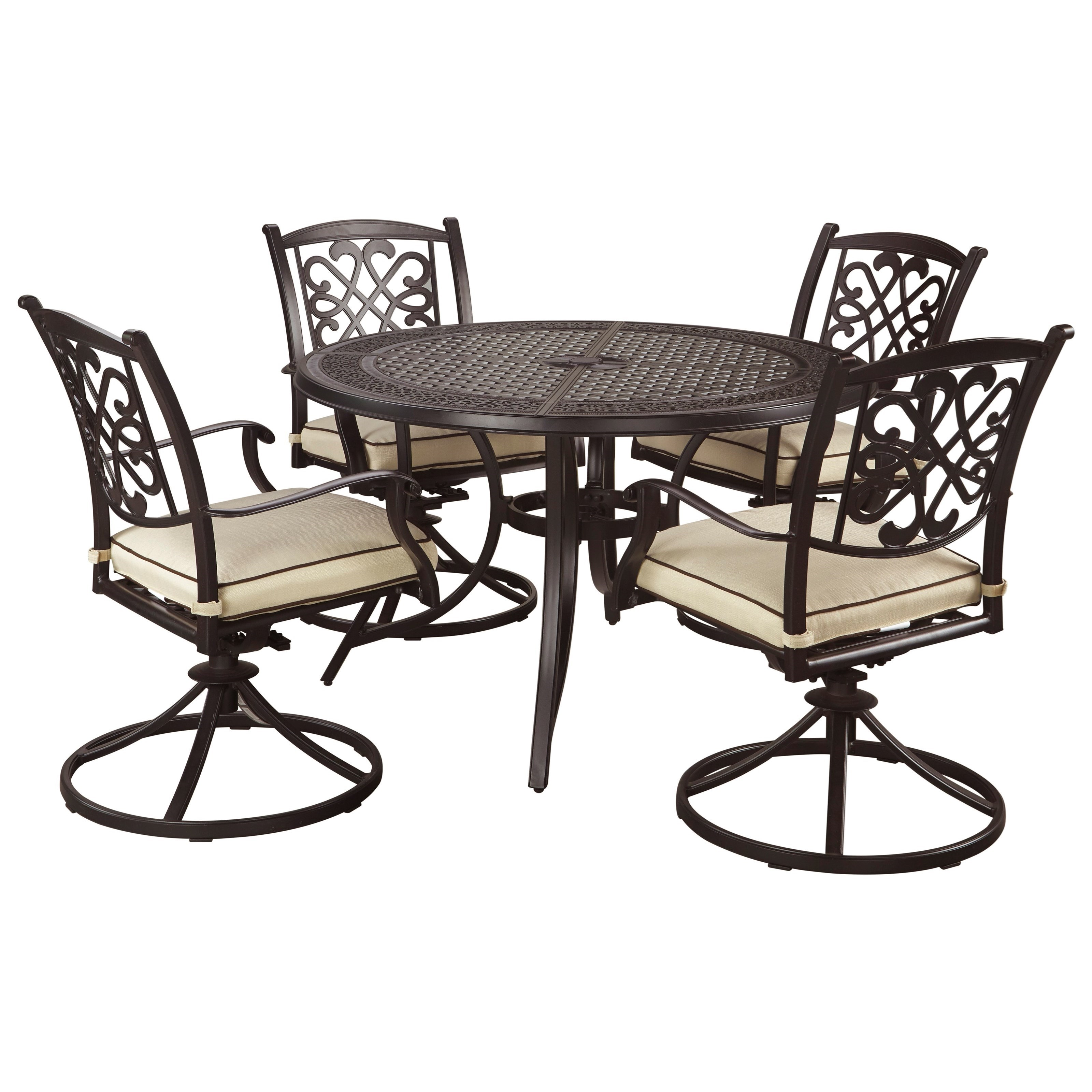 Signature Design by Ashley Burnella 5-Piece Outdoor Dining Set - Item Number: P456-615+2x602A