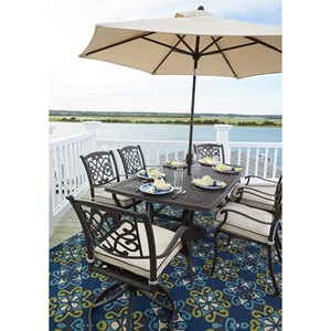Signature Design by Ashley Burnella Outdoor Dining Set w/ Umbrella