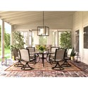 Signature Design by Ashley Burnella 7 Piece Outdoor Dining Set - Item Number: P456-650+3xP317-602A