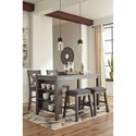 Signature Design by Ashley Caitbrook Five Piece Kitchen Island & Chair Set with Adjustable Storage