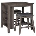 Signature Design by Ashley Caitbrook 3-Piece Rectangular Counter Table Set - Item Number: D388-113