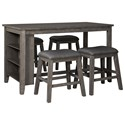 Signature Design by Ashley Caitbrook Five Piece Kitchen Island & Chair Set - Item Number: D388-13+4x024