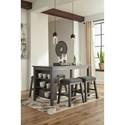 Signature Design by Ashley Caitbrook Five Piece Kitchen Island & Chair Set with Adjustable Storage