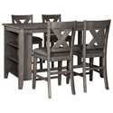 Signature Design by Ashley Caitbrook Five Piece Kitchen Island & Chair Set - Item Number: D388-13+4x124