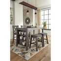 Signature Design by Ashley Caitbrook Relaxed Vintage Counter Height Table with Adjustable Shelves