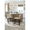 Signature Design by Ashley Canidelli Beige Upholstered Counter Height Stool with Low Back