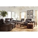 Signature Design by Ashley Canterelli Leather Match Chair & Ottoman