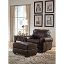 Signature Design by Ashley Canterelli Leather Match Chair with Rolled Arms