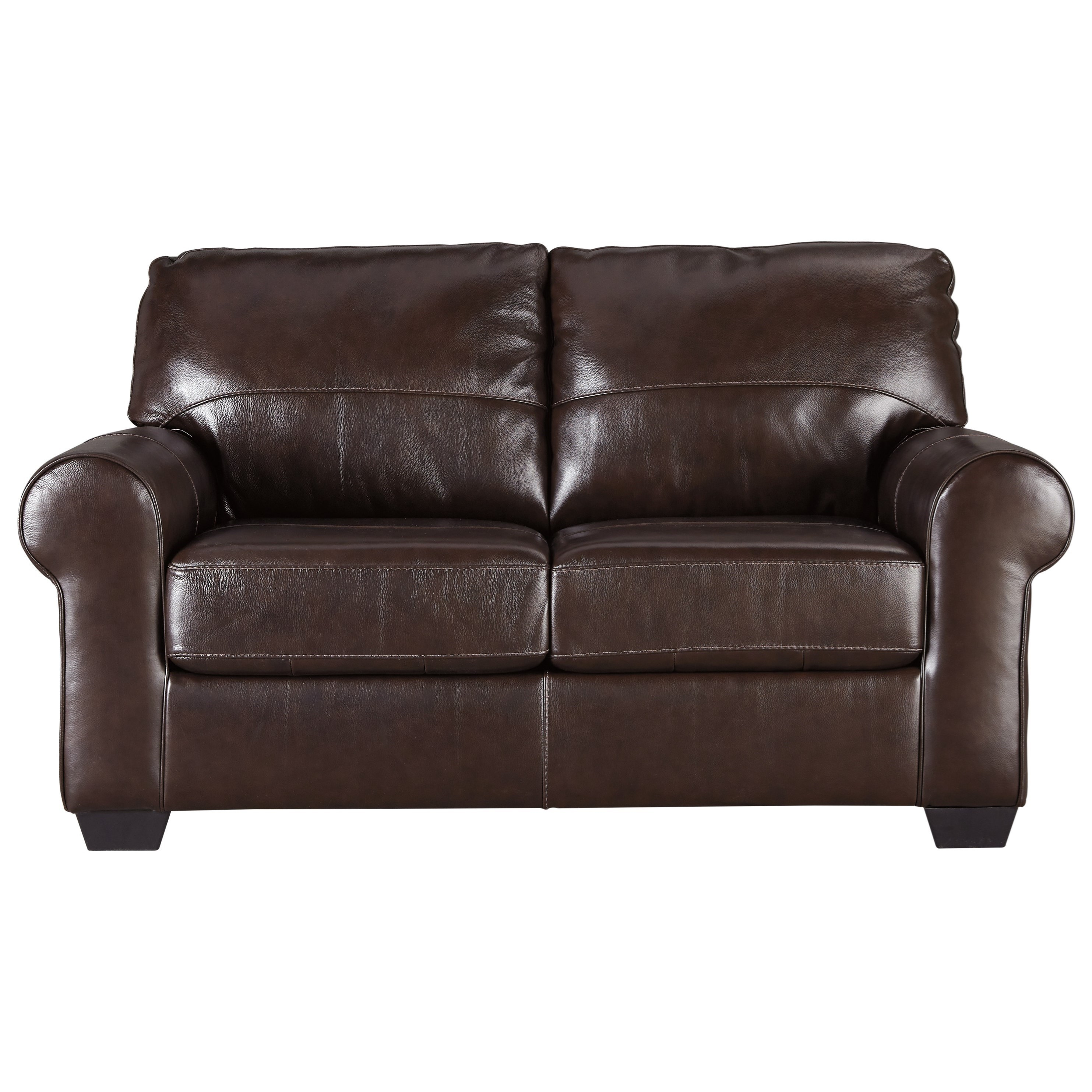 Signature Design By Ashley Canterelli 9800235 Leather Match Loveseat With Rolled Arms