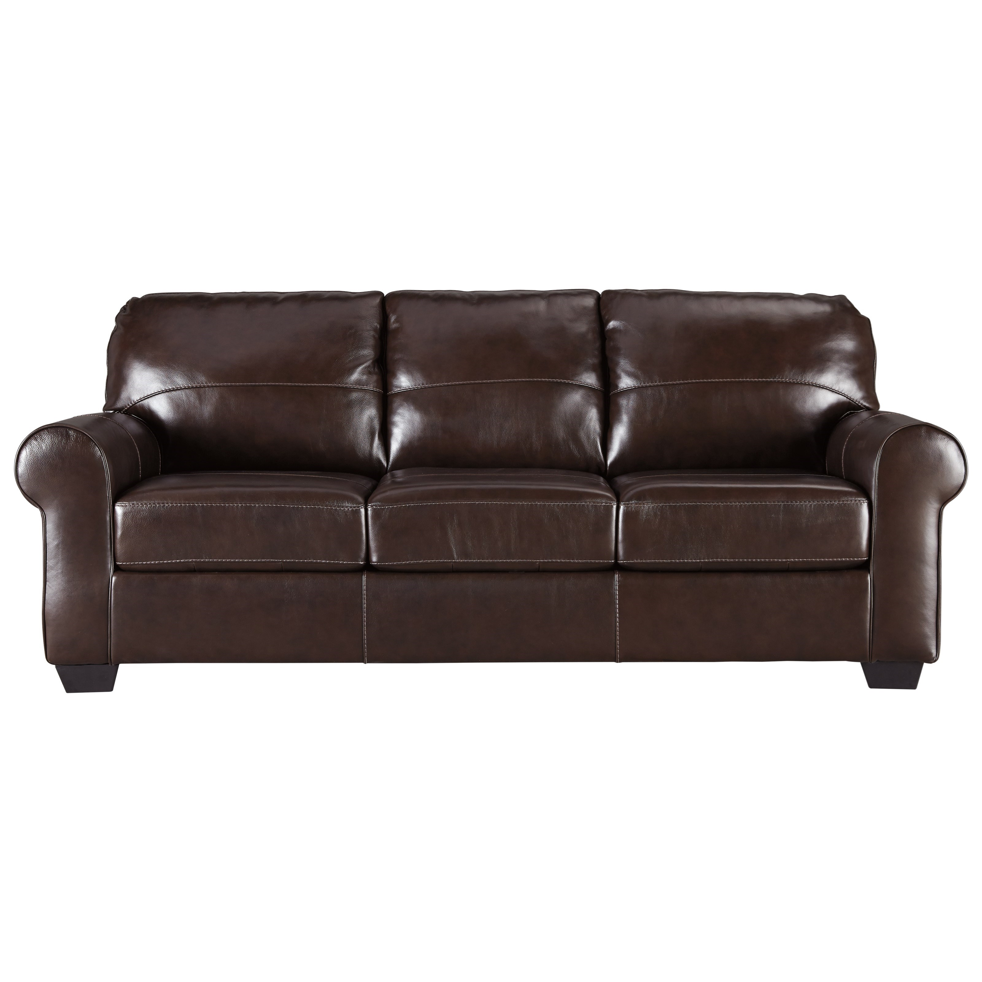 Signature Design By Ashley Canterelli 9800238 Leather Match Sofa With Rolled Arms Del Sol