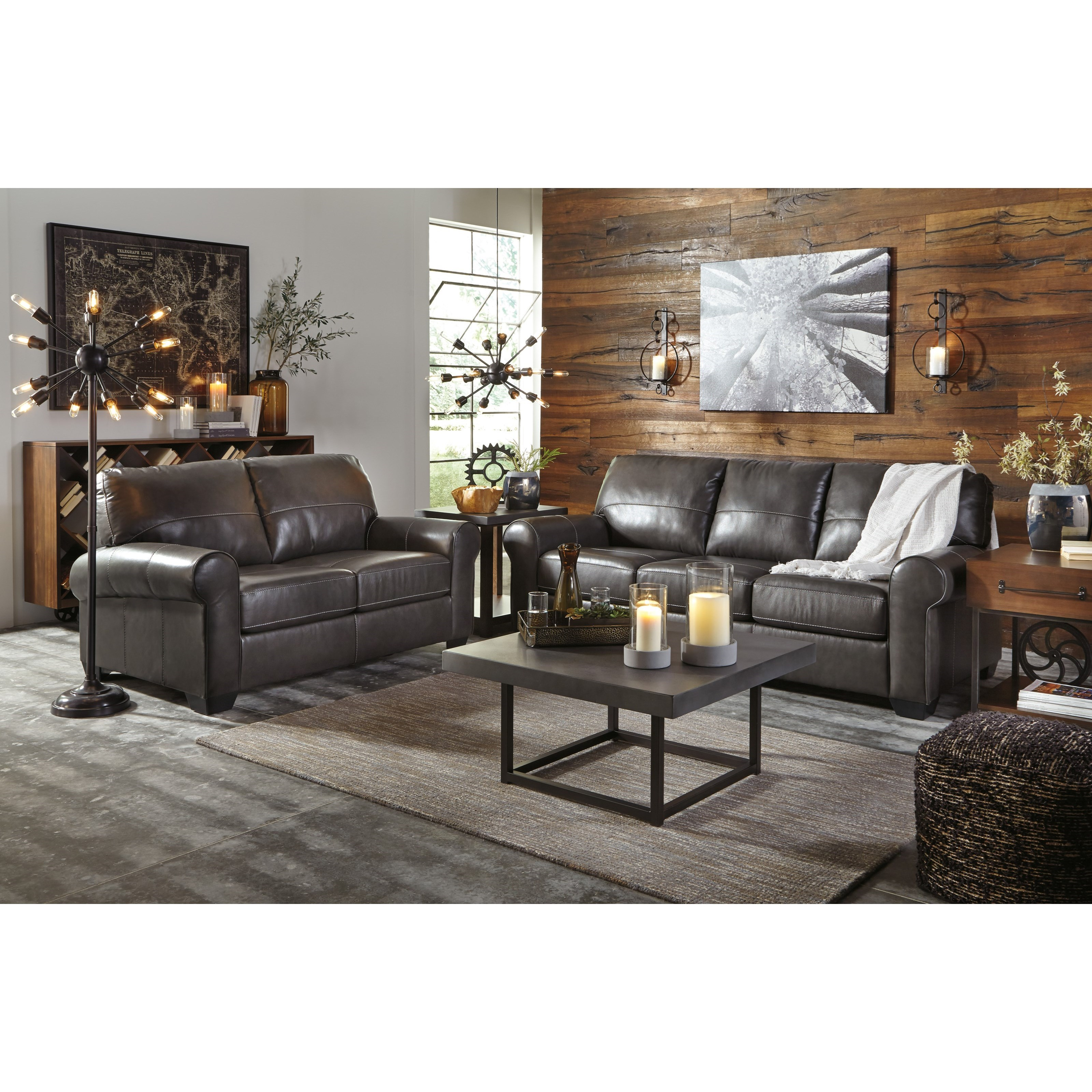 Benchcraft Canterelli Leather Match Sofa With Rolled Arms