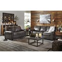 Signature Design by Ashley Canterelli Leather Match Sofa with Rolled Arms