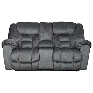 Signature Design by Ashley Capehorn Double Reclining Loveseat w/ Console