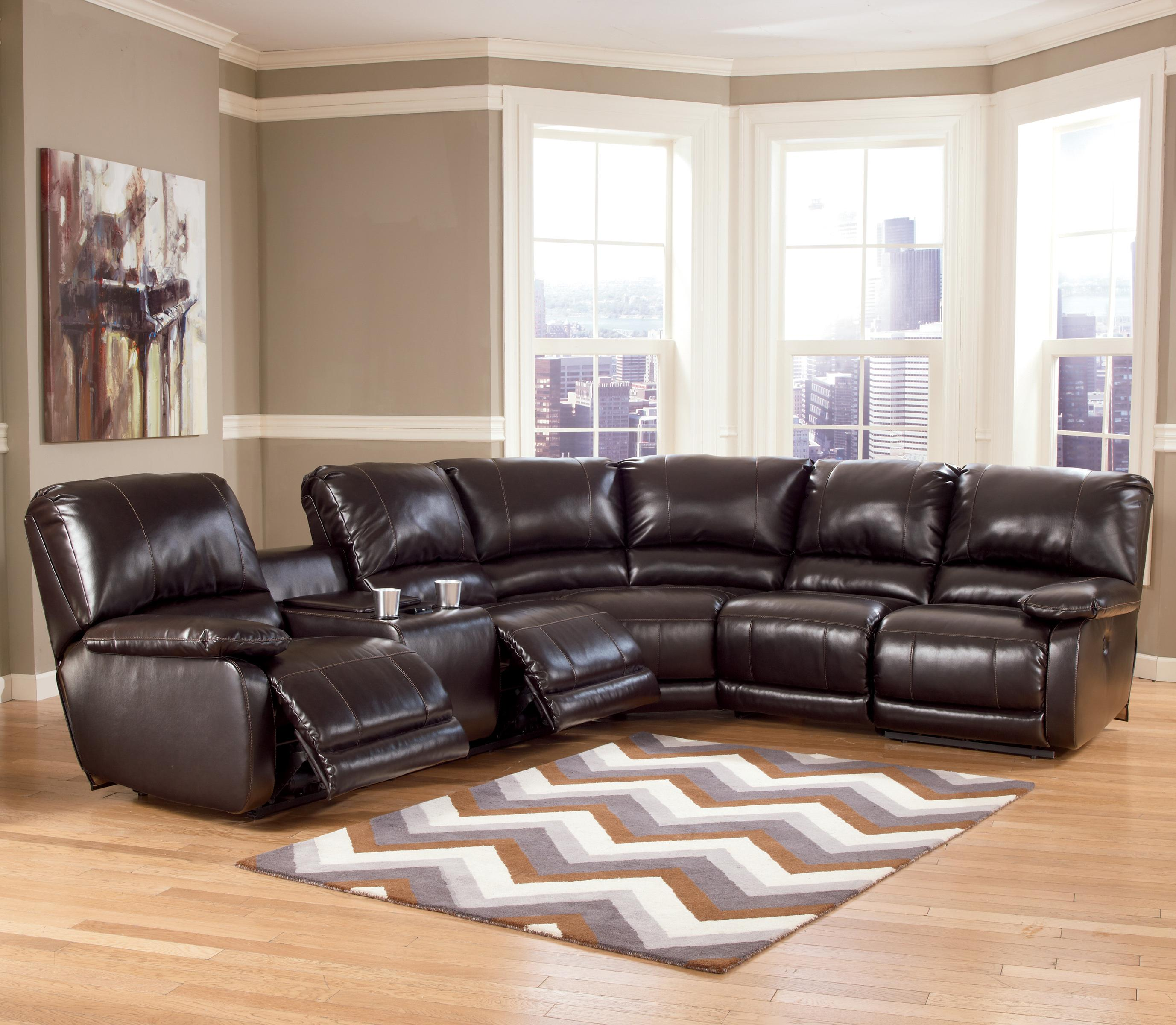 Signature Design by Ashley Capote DuraBlend® - Chocolate Power Reclining Sectional - Item Number: 4450001+77+46+62