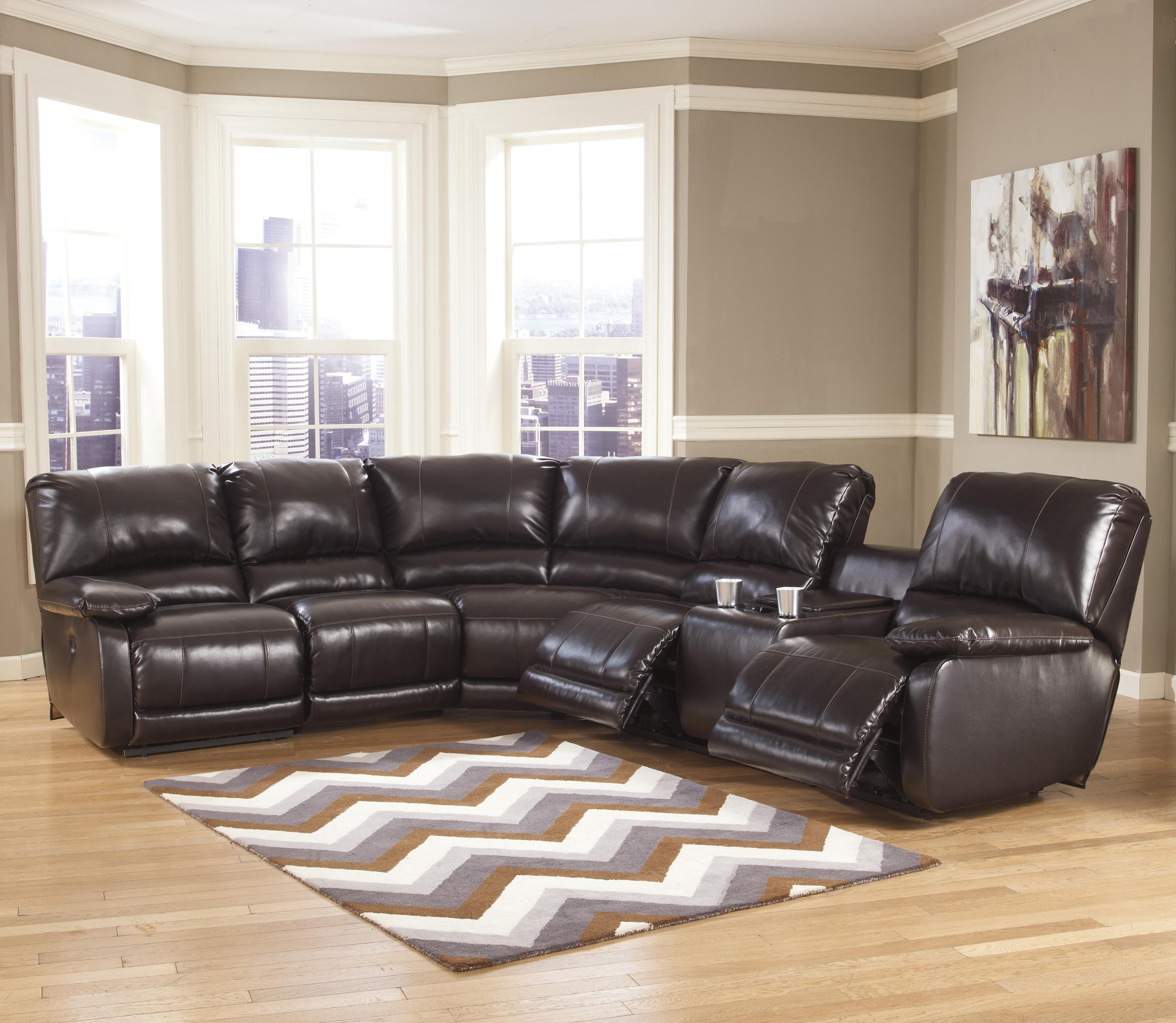 Signature Design by Ashley Capote DuraBlend® - Chocolate Power Reclining Sectional with Heat, Massage - Item Number: 4450058+46+77+90