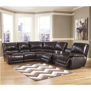 Signature Design by Ashley Capote DuraBlend® - Chocolate Power Reclining Sectional with Heat, Massage