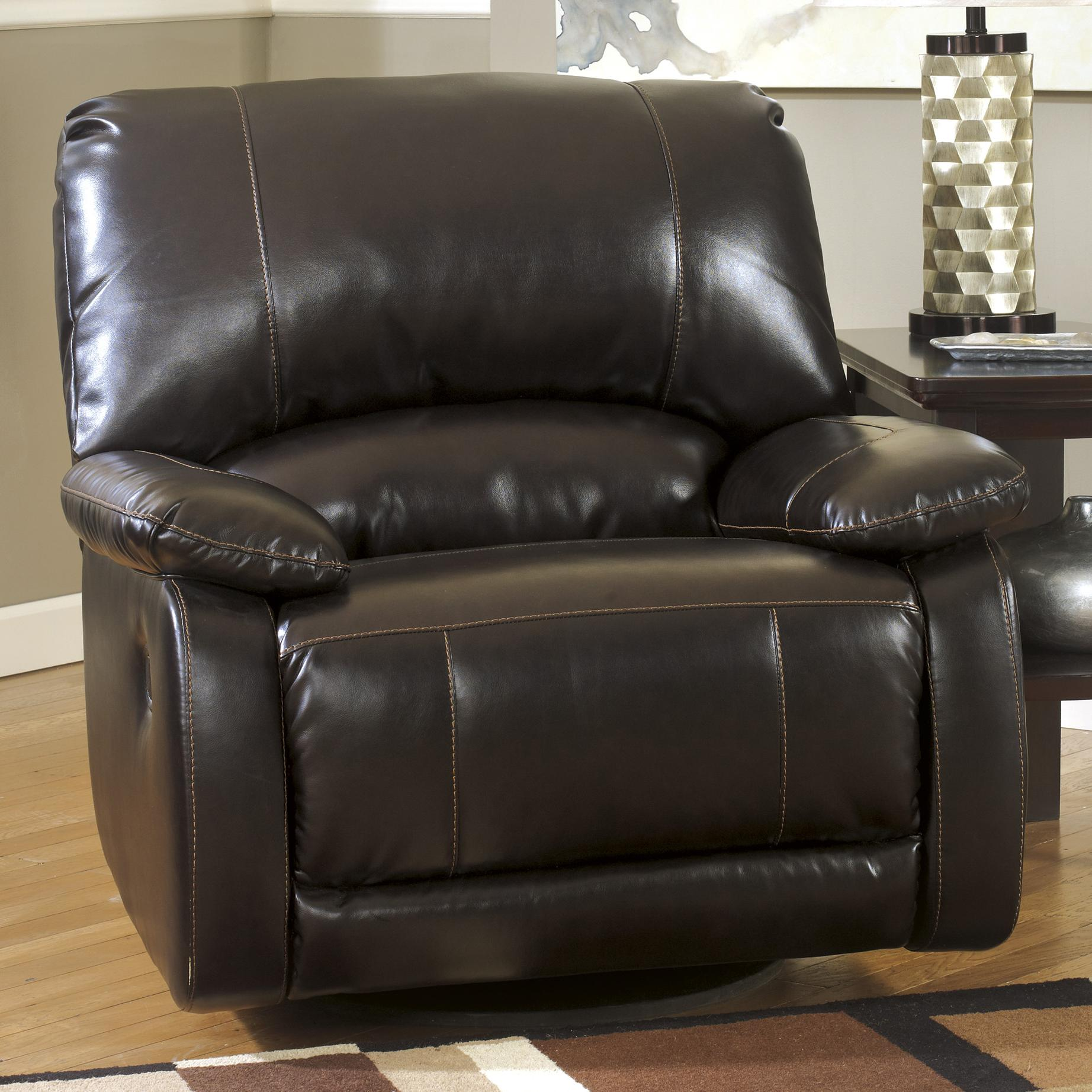 Signature Design by Ashley Capote DuraBlend® - Chocolate Swivel Glider Recliner - Item Number: 4450061